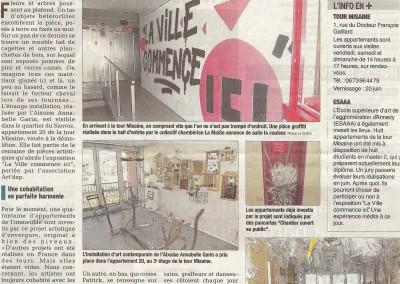 Graffiti Street art Exposition    Article de presse du Dauphiné en 2015 concernant l'investissement du lieu avec la présence de nombreux artistes à Aix les Bains