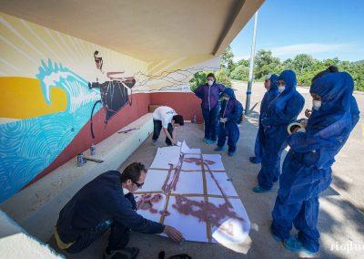 Graffiti Street art      Préparation d'un pochoir avec la participation de N.Scauri de l'agence artistique RioFluo et les collégiens de la ville Porto Vecchio en Corse