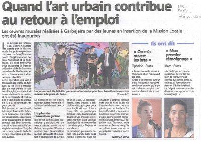 Graffiti Street Art       Article de presse animation et décoration pour theme la paix et la tolérance avec les jeunes du quartier de Garbejaire à Sophia Antipolis en 2012