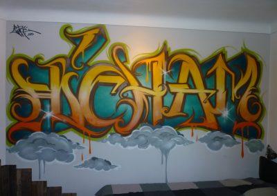 Graffiti Street Art     Décoration intérieur pour une chambre d'ado      Lettrage Hicham  en 2013 à Vallauris (06)