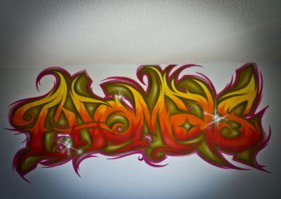 Graffiti Street Art    Décoration intérieur dans une chambre pour Thomas à Mougins (06 ) en 2012
