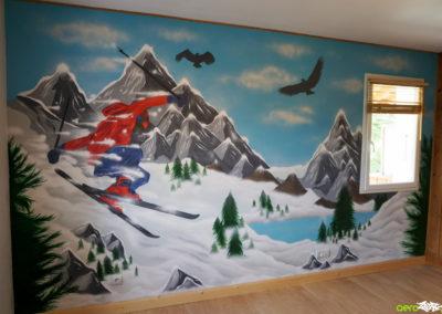 Décoration dans une chambre d'enfant freerider à Saint Pierre en Faucigny en Haute-Savoie 2019