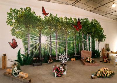 Trompe l'oeil terminé  Surface 8m x 4m ( décoration pompes funèbres Autem 2018 à Nangy  Haute-Savoie )