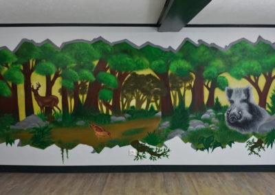 Décoration murale dans une salle de chasse à Bogève en Haute-Savoie 2019
