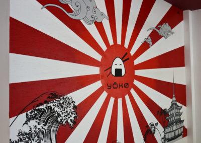Décoration murale dans le restaurant japonais Yoko à Evian les Bains en Haute Savoie
