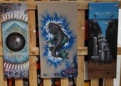 Exposition de toiles à la ferme de Bressieux en Savoie 73  le collectif de la Maise  Graffiti Street art