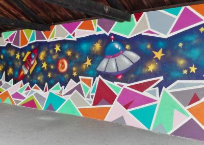 Fresque murale avec la participation des élèves sous le préau de l'école du Fayet à Saint Gervais en Haute Savoie ( 2018 ) Graffiti Street art