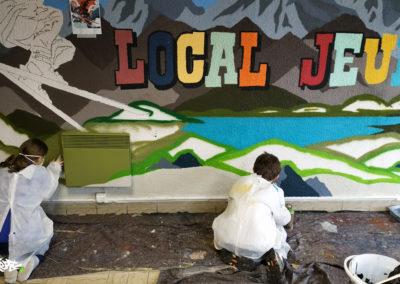 Fresque murale, initiation avec les enfants du local jeunes à Thorenc les Glières en Haute-Savoie (74) Graffiti Street art 2020
