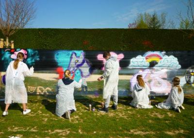 Atelier graffiti sur cellophane avec les ados du centre de jeunesse de la Roche sur Foron (74) Graffiti Street art