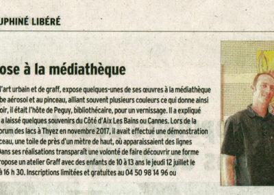 Article de presse dans le Dauphiné pour l'exposition à la médiathèque de Thyez (73) en Haute-Savoie 2018
