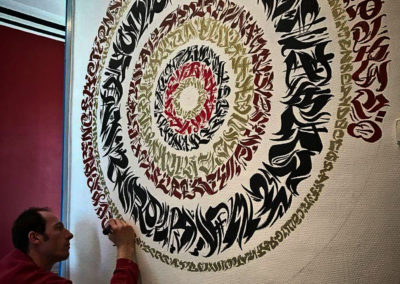 Zert en action ! Mandala calligraphique sur mur au marquer Graffiti street art