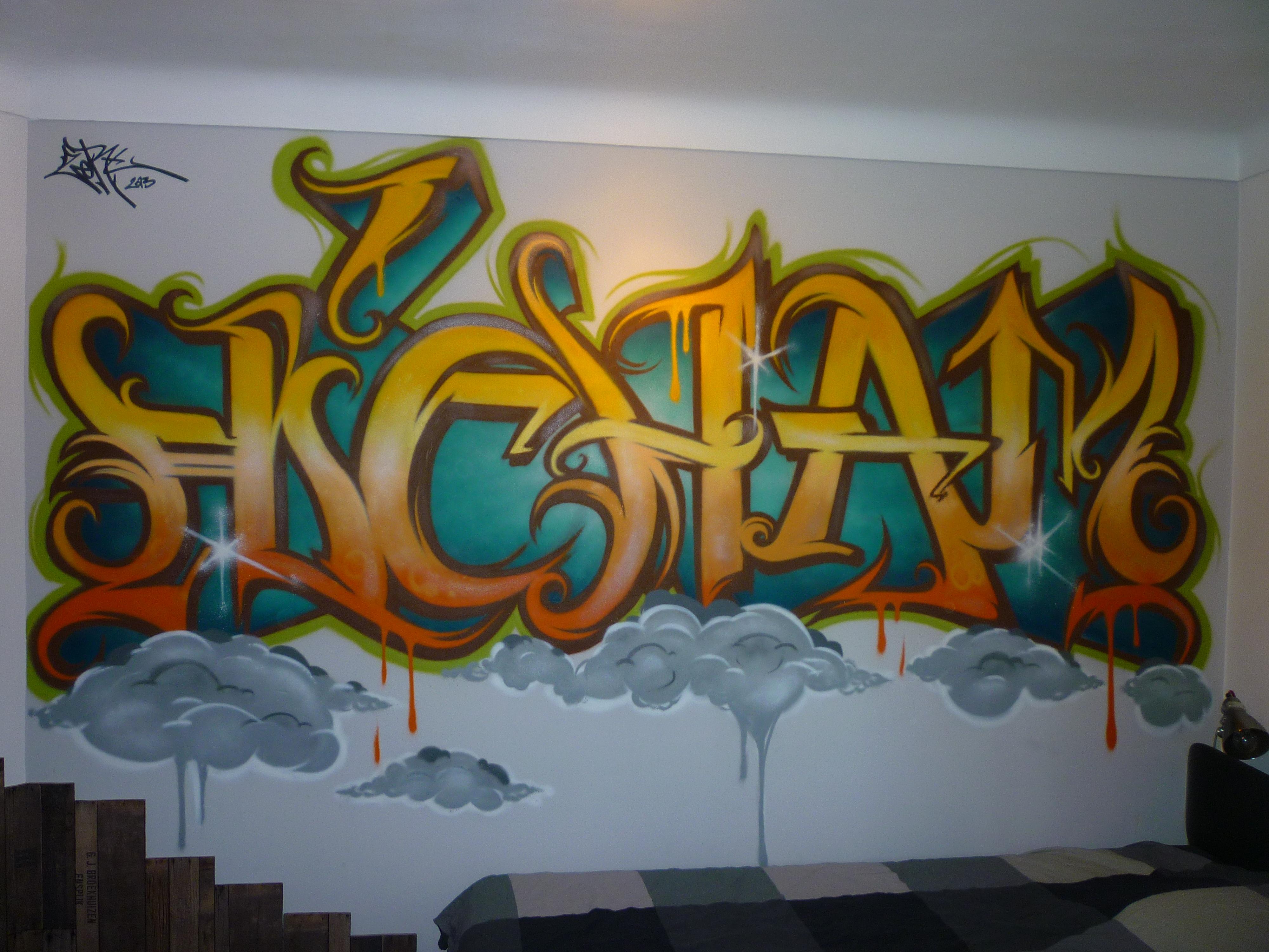 Graffiti street art décoration intérieur pour une chambre dado lettrage hicham en 2013 à